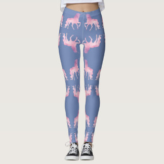 Magical prancing soft pink watercolor unicorn leggings