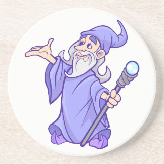 Magical purple wizard magician sorceress coaster