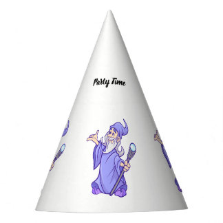 Magical purple wizard magician sorceress party hat