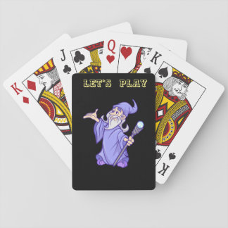 Magical purple wizard magician sorceress playing cards