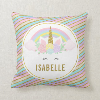 Magical Rainbow and Unicorn Throw Pillow