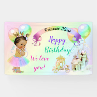 Magical Rainbow Princess Castle Carriage Banner