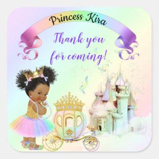 Magical Rainbow Princess Castle Carriage Square Sticker