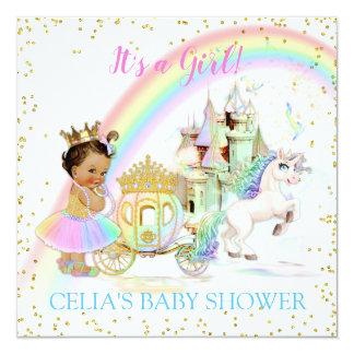 Magical Rainbow Princess Castle Carriage Unicorn Card