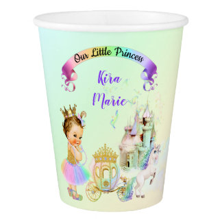 Magical Rainbow Princess Castle Carriage Unicorn Paper Cup