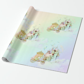 Magical Rainbow Princess Castle Carriage Wrapping Paper