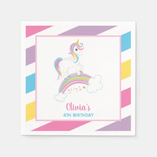 Magical Rainbow Unicorn Birthday Disposable Napkins