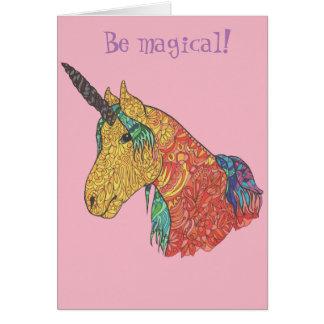 Magical rainbow unicorn card