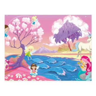 Magical Riverbank with Fairies Unicorn and Mermaid Postcard