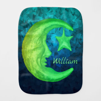 Magical Shining Half Moon with Star -  Personified Burp Cloth