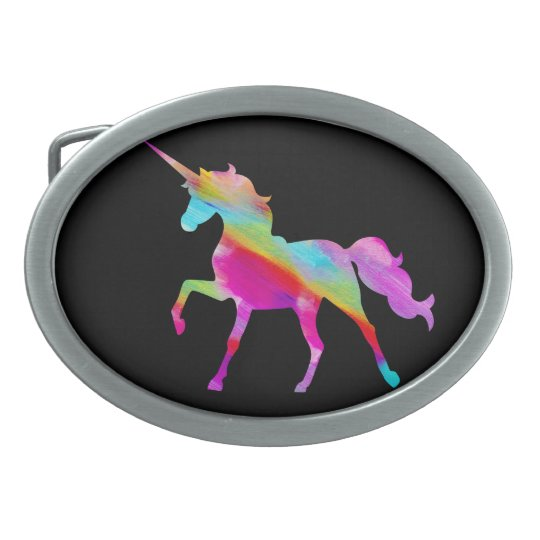 Magical sparkly rainbow prancing unicorn belt buckles
