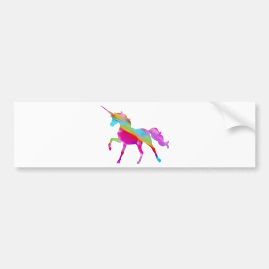 Magical sparkly rainbow prancing unicorn bumper sticker