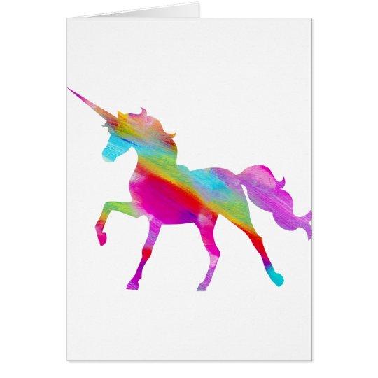 Magical sparkly rainbow prancing unicorn card