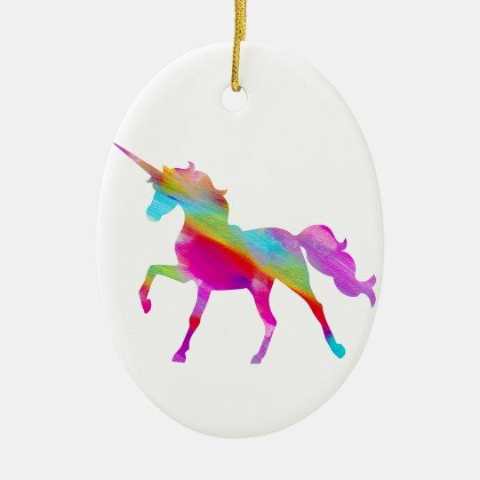 Magical sparkly rainbow prancing unicorn ceramic ornament