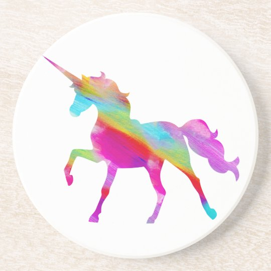 Magical sparkly rainbow prancing unicorn coaster