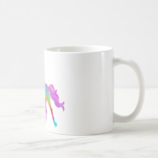 Magical sparkly rainbow prancing unicorn coffee mug