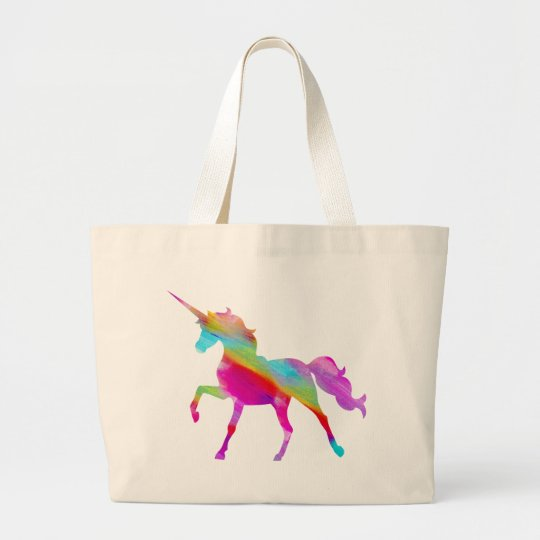 Magical sparkly rainbow prancing unicorn large tote bag