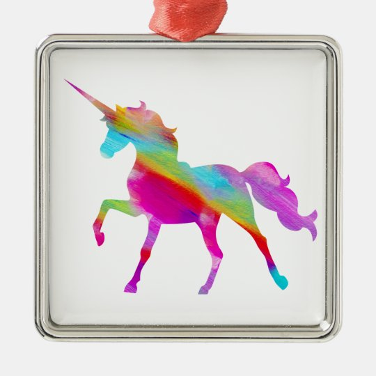 Magical sparkly rainbow prancing unicorn metal ornament