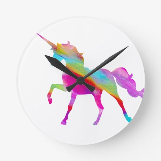 Magical sparkly rainbow prancing unicorn round clock