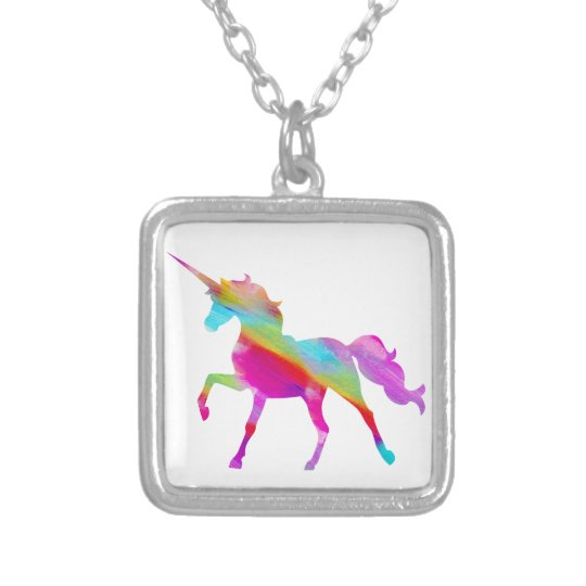 Magical sparkly rainbow prancing unicorn silver plated necklace