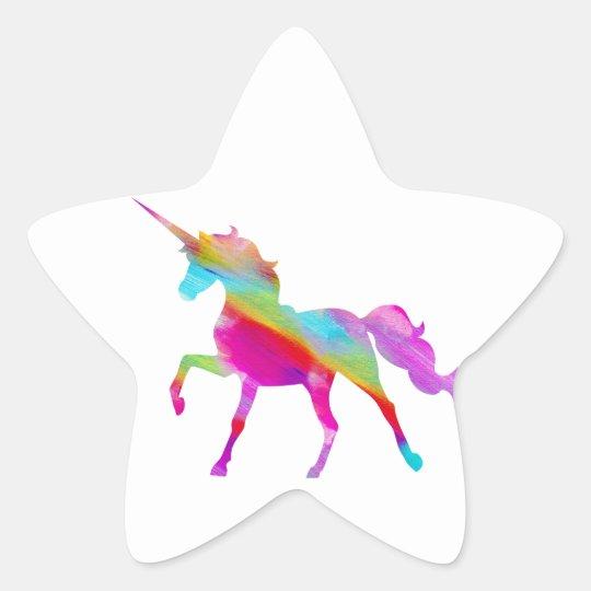 Magical sparkly rainbow prancing unicorn star sticker