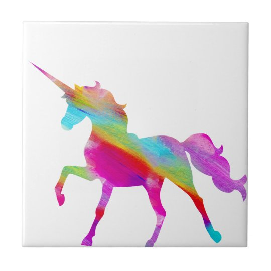 Magical sparkly rainbow prancing unicorn tile