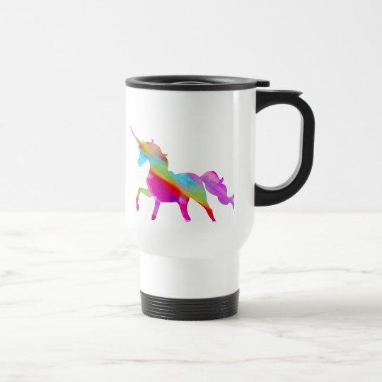 Magical sparkly rainbow prancing unicorn travel mug