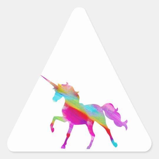Magical sparkly rainbow prancing unicorn triangle sticker