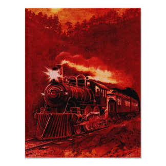 Magical Steam Engine Victorian Train Card
