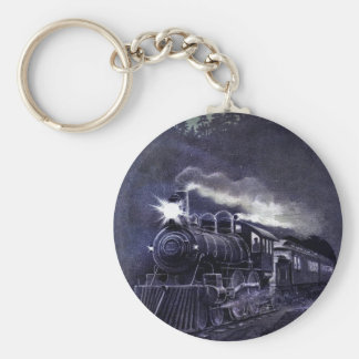 Magical Steam Engine Victorian Train Basic Round Button Key Ring