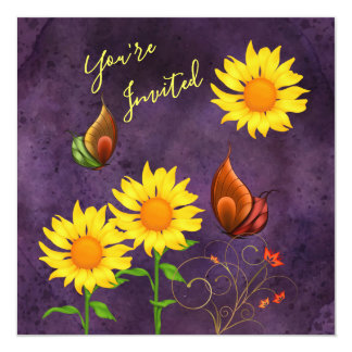 Magical Sunflowers & Butterflies Birthday Invite