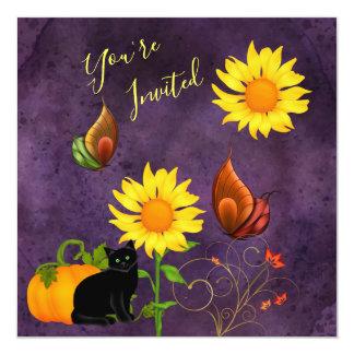 Magical Sunflowers, Pumpkin & Cat Birthday Invite