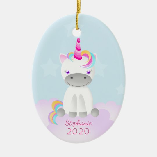 Magical Unicorn Believe in the Magic of Christmas Ceramic Ornament