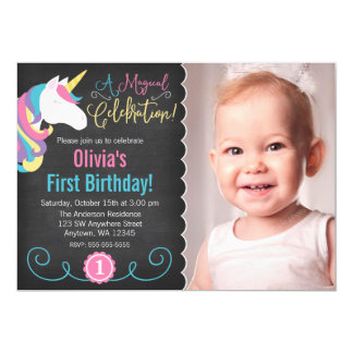 Magical Unicorn Chalkboard Photo Birthday Invite