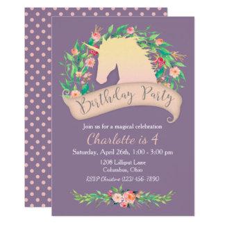 Magical Unicorn Floral Birthday Party 13 Cm X 18 Cm Invitation Card