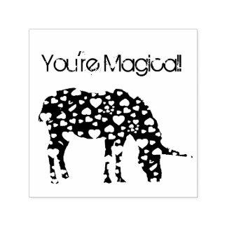 Magical Unicorn Hearts Custom Stamp