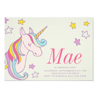 MAGICAL UNICORN KIDS BIRTHDAY INVITATION invite