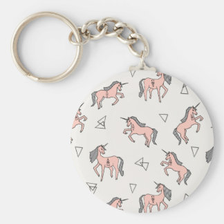 Magical Unicorn Love - Pale Pink / Andrea Lauren Basic Round Button Key Ring