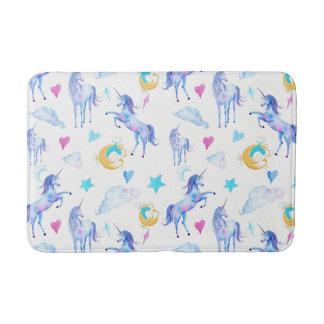 Magical Unicorn Pattern Watercolor Fantasy Design Bath Mat
