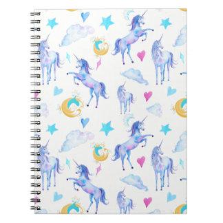 Magical Unicorn Pattern Watercolor Fantasy Design Notebook