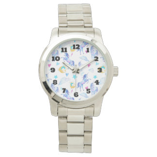 Magical Unicorn Pattern Watercolor Fantasy Design Watch