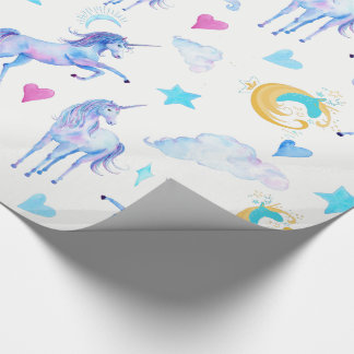Magical Unicorn Pattern Watercolor Fantasy Design Wrapping Paper