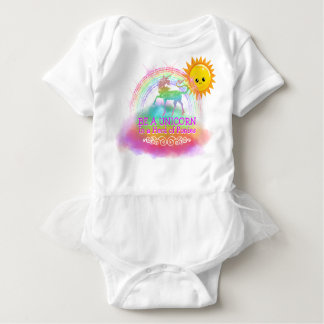 Magical Unicorn Quote Baby Girl Rainbow Sun Baby Bodysuit