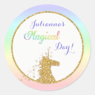 Magical Unicorn Rainbow Colours Classic Round Sticker
