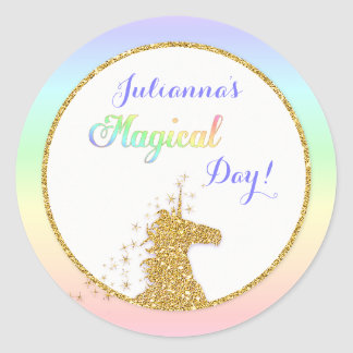Magical Unicorn Rainbow Colours Round Sticker