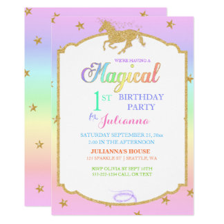 Magical Unicorn Rainbow & Faux Glitter Card