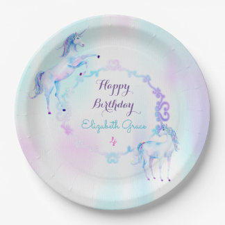 Magical Unicorn Rainbow Lavender Pink Turquoise 9 Inch Paper Plate