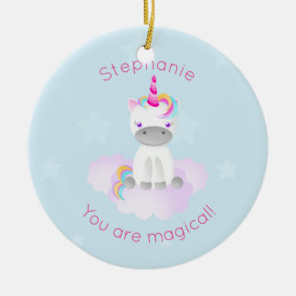 Magical Unicorn Round Ceramic Decoration