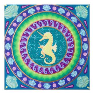 Magical Unicorn Seahorse Mandala Photo Print