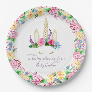 Magical Unicorn Watercolor Pink Floral Baby Shower Paper Plate